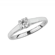 9ct White Gold 0.2ct Solitaire Diamond Ring Four Claw crossover style mount